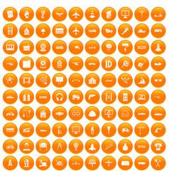100 engineering icons set orange vector