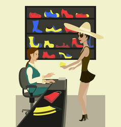 footwear store exterior and people shopping vector image vector image
