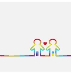 Gay marriage Pride symbol Two contour rainbow man vector image vector image