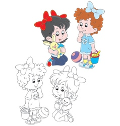 Girls playing vector image