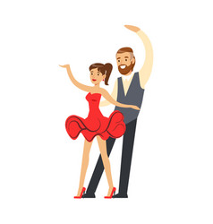 professional dancer couple dancing in costumes vector image