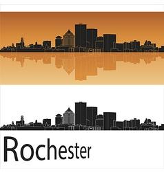 Rochester skyline in orange background vector image vector image