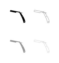 straight razor black and grey set icon vector image vector image