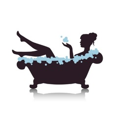 woman in a bath with foam vector image vector image