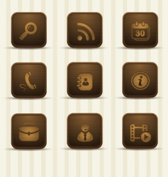 wooden realistic icons vector image vector image