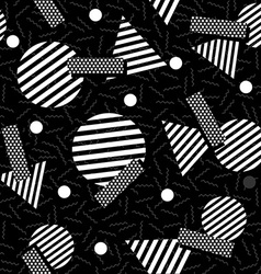 Geometric 80s retro pattern in black and white vector image vector image
