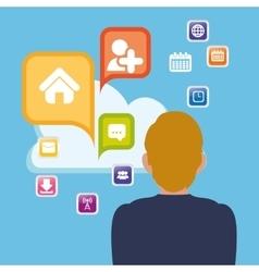 man cloud apps cloud social media vector image
