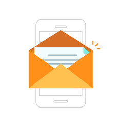 email notification mobile phone envelope with new vector image vector image
