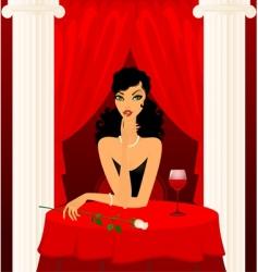 girl on a dinner date vector image