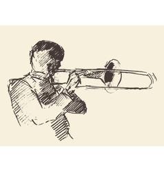 Jazz poster trombone music acoustic consept vector image