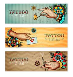 oldschool tattoo hands horizontal banners vector image