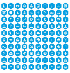 100 church icons set blue vector image