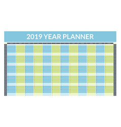 2019 year planner concept empty template vector image