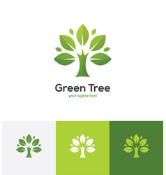 abstract green tree logo vector image