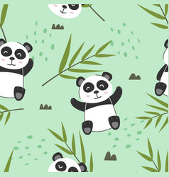 Adorable little panda seamless pattern vector