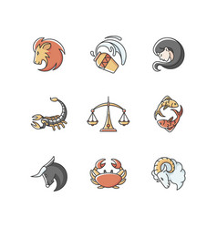 Astrology signs rgb color icons set vector