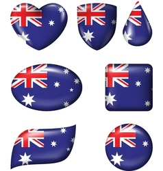 Australian Flag in various shape glossy button vector image
