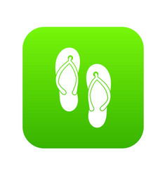 Beach thongs icon digital green vector