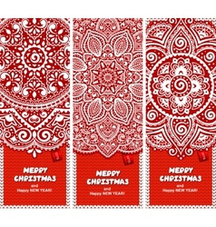Beautiful Christmas set of banners with lace vector
