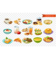 Breakfast transparent set vector