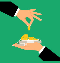 businessman hands holding money vector image