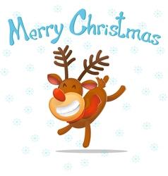 Cartoon Funny deer Dancer congratulates on vector image vector image