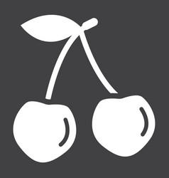 Cherry solid icon fruit and diet graphic vector