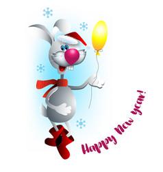 christmas rabbit with balloon vector image