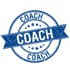 Coach grunge retro blue isolated ribbon stamp vector