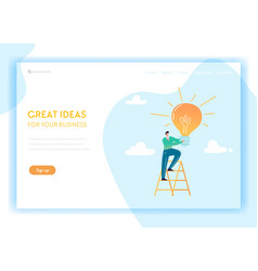 Creative idea and business solutions landing page vector