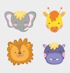 cute and happy wild animals head vector image