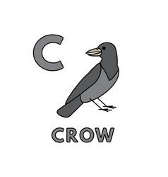 Cute cartoon animals alphabet crow vector