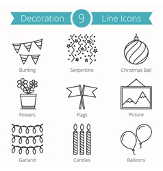 decoration objects line icons vector image