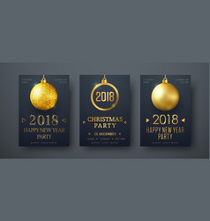 design black posters with golden christmas vector image