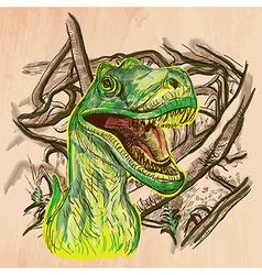 Dino Dinosaurs - An hand drawn Line art vector