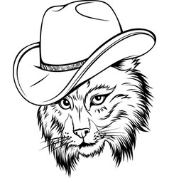 draw in black and white wild cat lynx bobcat vector image