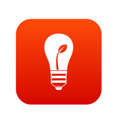 ecology idea bulb with plant icon digital red vector image