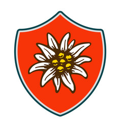 Edelweiss shield flower symbol alpinism alps vector