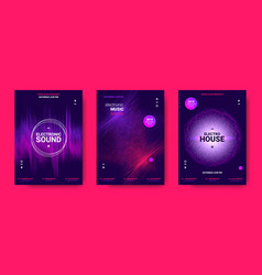 Electronic music posters with sound amplitude vector
