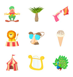 Fancy dress party icons set cartoon style vector