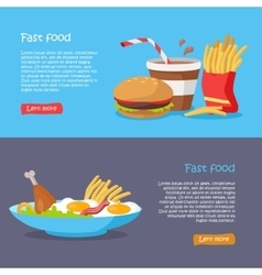 Fast food concept flat style web banners vector