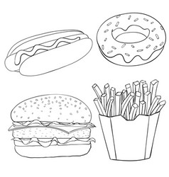Fast food vintage sketch vector