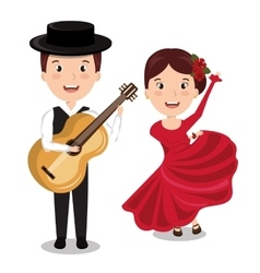 flamenco musician with dancer isolated icon vector image