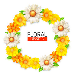 flower wreath of spring wildflowers summer vector image