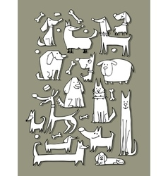 Funny dogs collection sketch for your design vector image