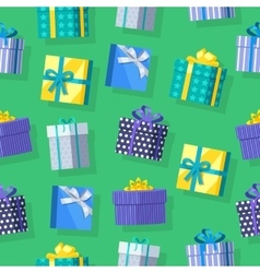 Gift Boxes Seamless Pattern in Flat Design vector image