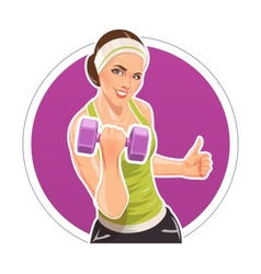 Girl with dumbbells for vector image