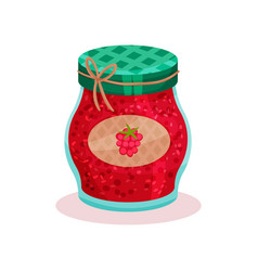 glass jar with raspberry jam home made product vector image
