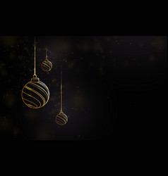 golden luxury christmas balls with blurred lights vector image