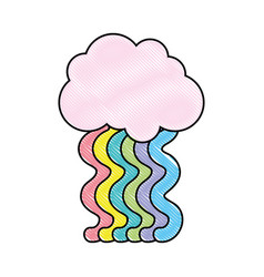 grated cloud with bright rainbow with sky design vector image